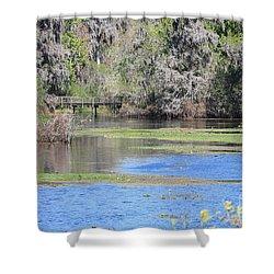 Lettuce Lake With Bridge Shower Curtain by Carol Groenen