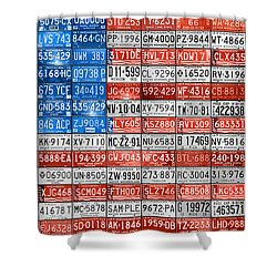 License Plate Flag Of The United States Shower Curtain by Design Turnpike