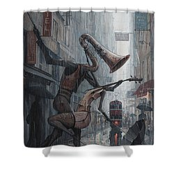 Life Is  Dance In The Rain Shower Curtain by Adrian Borda