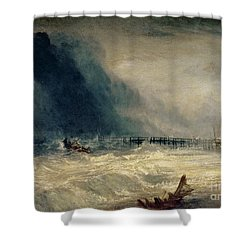 Lifeboat And Manby Apparatus Going Off To A Stranded Vessel Making Signal Of Distress Shower Curtain by Joseph Mallord William Turner