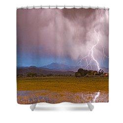 Lightning Striking Longs Peak Foothills 7c Shower Curtain by James BO  Insogna