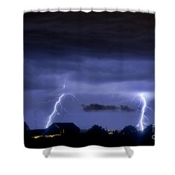 Lightning Thunderstorm July 12 2011 Two Strikes Over The City Shower Curtain by James BO  Insogna