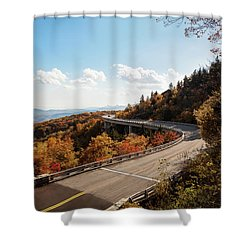 Linn Cove Viaduct Shower Curtain by Deborah Scannell