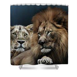 Lion Family Shower Curtain by Julie L Hoddinott