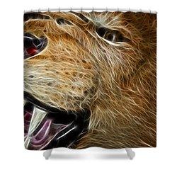 Lion Fractal Shower Curtain by Shane Bechler