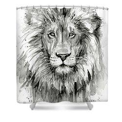 Lion Watercolor  Shower Curtain by Olga Shvartsur
