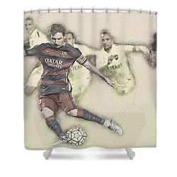 Lionel Messi Scores A Penalty Kick Against Levante  Shower Curtain by Don Kuing