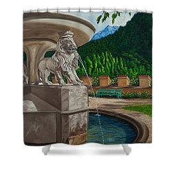Lions Of Bavaria Shower Curtain by Charlotte Blanchard