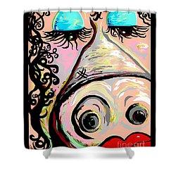 Lipstick On A Pig Shower Curtain by Eloise Schneider