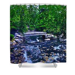 Little Bridge - Japanese Garden Shower Curtain by Bill Cannon