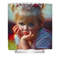 Little Miss Sunshine Shower Curtain by Talya Johnson