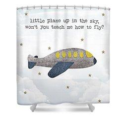 Little Plane Shower Curtain by Samuel Whitton