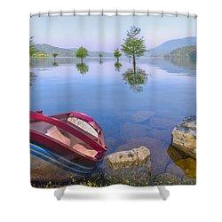 Little Rowboat Shower Curtain by Debra and Dave Vanderlaan