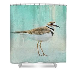 Little Seaside Friend Shower Curtain by Jai Johnson