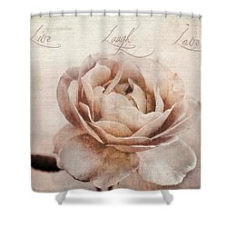 Live Laugh Love Shower Curtain by Darren Fisher