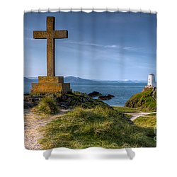 Llanddwyn Cross Shower Curtain by Adrian Evans