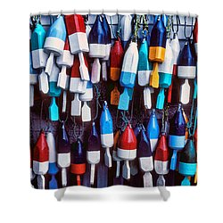 Lobester Trap Bouys Shower Curtain by Garry Gay