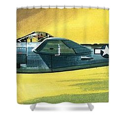Lockheed P-38j Lightning Shower Curtain by Wilf Hardy