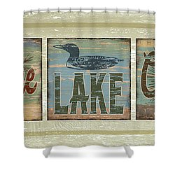 Lodge Lake Cabin Sign Shower Curtain by Joe Low