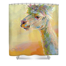 Lolly Llama Shower Curtain by Kimberly Santini