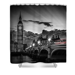 London Westminster Bridge At Sunset Shower Curtain by Melanie Viola