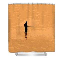 Lone Fisherman Shower Curtain by David Lee Thompson