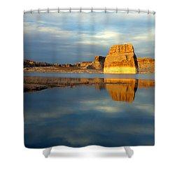 Lone Rock Glow Shower Curtain by Mike  Dawson