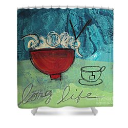Long Life Noodles Shower Curtain by Linda Woods