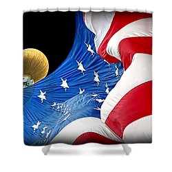 Long May She Wave The American Flag Shower Curtain by Jennie Marie Schell