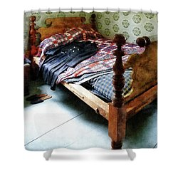Long Sleeved Dress On Bed Shower Curtain by Susan Savad