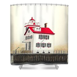 Lorain Lighthouse Shower Curtain by Michael Vigliotti