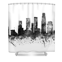 Los Angeles California Cityscape 02bw Shower Curtain by Aged Pixel