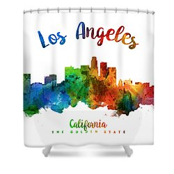 Los Angeles California Skyline 25 Shower Curtain by Aged Pixel
