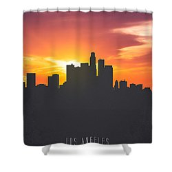 Los Angeles California Sunset Skyline 01 Shower Curtain by Aged Pixel
