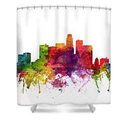 Los Angeles Cityscape 06 Shower Curtain by Aged Pixel
