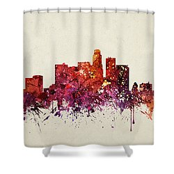 Los Angeles Cityscape 09 Shower Curtain by Aged Pixel