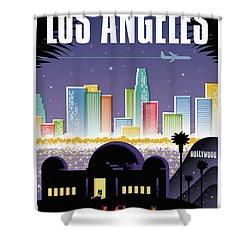 Los Angeles Retro Travel Poster Shower Curtain by Jim Zahniser