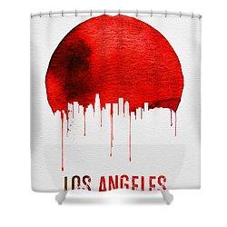 Los Angeles Skyline Red Shower Curtain by Naxart Studio