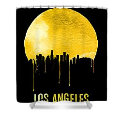Los Angeles Skyline Yellow Shower Curtain by Naxart Studio