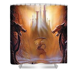 Lost Valley Shower Curtain by The Dragon Chronicles - Garry Wa