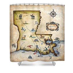 Louisiana Map Shower Curtain by Judy Merrell