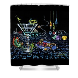 Lounge Lizard Shower Curtain by Michael Godard