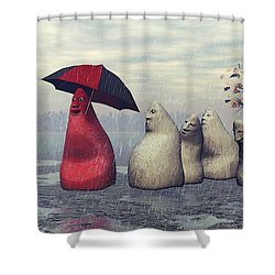 Lousy Weather Shower Curtain by Jutta Maria Pusl