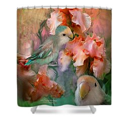Love Among The Irises Shower Curtain by Carol Cavalaris