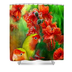 Love Among The Poppies Shower Curtain by Carol Cavalaris