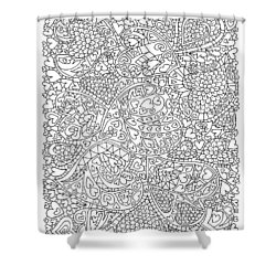 Love And Chrysanthemum Filled Hearts Vertical Shower Curtain by Tamara Kulish