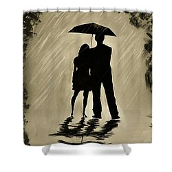 Love In The Rain D Shower Curtain by Leslie Allen