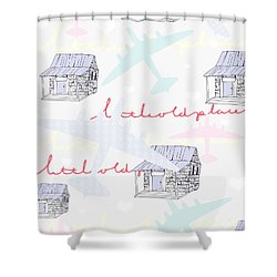Love Shack Shower Curtain by Beth Travers