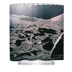 Lunar Rover At Rim Of Camelot Crater Shower Curtain by NASA / Science Source