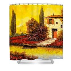 Lungo Il Fiume Tra I Papaveri Shower Curtain by Guido Borelli